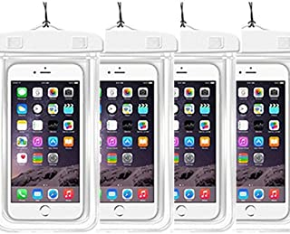 [4Ppack] Waterproof Pouch Dry Bag Case with Strap Easy Fitting Sports Cases Cover Scratch-Resistant Slim-Light-Weight Transparent Covers Submersible (Waterproof Case White 4pack)