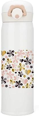 ZHIMI 水筒 500ml 真空断熱 ケータイマグ 保温保冷 大容量 軽量 ワンタッチ ステンレスボトル ウォーターボトル 大人 子供 男女兼用 綺麗な葉 花柄 お洒落 持ち運び便利