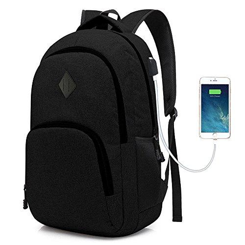 iRepie Laptop College-Rucksack Wasserdicht Leichte Minimalism mit USB-Ladeanschluss Business School-Buch-Tasche Reisen Wandern Camping Outdoor-Daypack Rucksack Passend für 15-Zoll-Notebook (Schwarz)