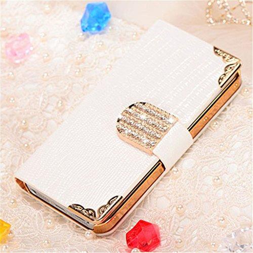 Funda de piel con tapa sabona Lizardstripe de cristal de funda tipo libro con tarjetero para iPhone 5/5S Blanco
