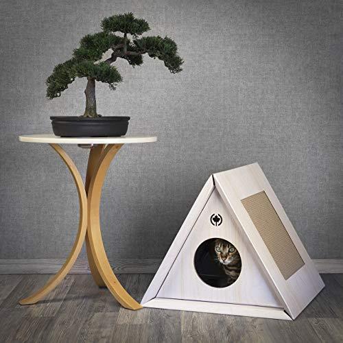 CanadianCat Company ® | Kratzmöbel Triangle House | Weiss | Höhle für Katzen | ca. 50 x 50 x 43,5 cm