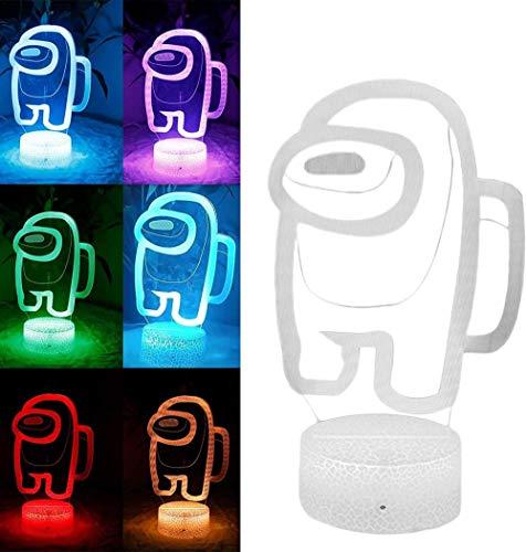 Among us Lampe, 7/16 Farben Freunde Spiel Among us LED-Licht 3D-Illusion Among us Nachtlicht Atmosphäre Nachttische Nachtlichter Sensorlichter für Jungen Mädchen Kinder-16 Farbfernbedienung