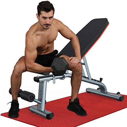 KingStone Adjustable Weight Benches for Full Body Workout with Ultra-wide Frame Strength Training Incline Flat Decline Exercise Workout Benches Press for Home Gym Gray