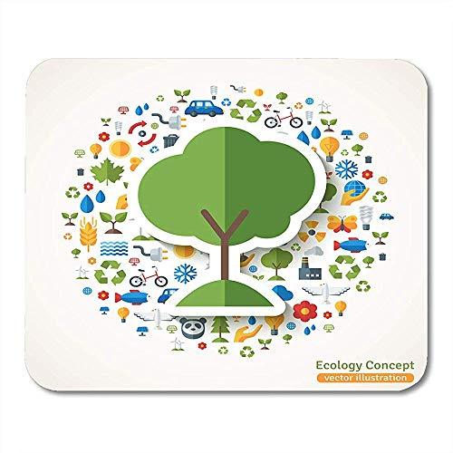 Mauspad Baum-Symbol-Flacher Aufkleber Mit Ökologie-Umwelt-Grün-Energie Und Verschmutzung Retten Den Planeten Eco Notizbücher Tischrechner-Mausunterlage Mauspads 25X30Cm Bürozubehöre