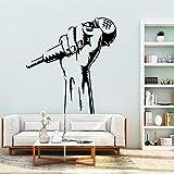 Modeganqingg Gravure Microphone Musique Amovible en PVC Sticker Mural décoration...