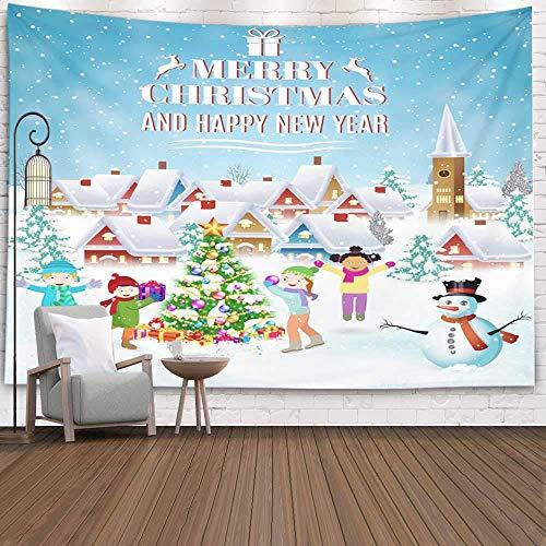 Tapisserie de Noël, Home Thème de Noël Tenture murale Tapisserie de neige Tapisserie de neigeNouvel an et joyeux Noël Carte de voeux Plaisirs d'hiver Noël Nouvel An Décorations d'intérieur pour la mai
