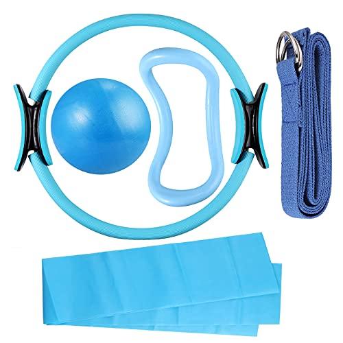 COLFULINE 5 Pezzi Set Fitness Pilates, Mini Yoga Palla Anello Pilates Anello Yoga Fascia di Tensione Fascia Elastica, Set di Attrezzi Anello per Pilates Elastici Fitness