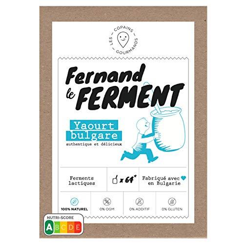 Fernand le Ferment pour Yaourt Bio par Nature, Ferments lactiques pour Yaourts Maison, Authentique Yaourt Bulgare - 1 paquet (4 sachets = jusqu'à 64 pots de yaourt)