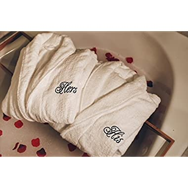 Romance Helpers His Hers Terry Bath Robes - Perfect Anniversary Shower Gift
