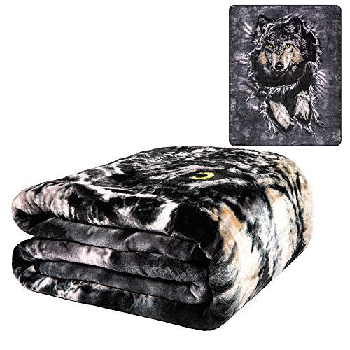 K2 Wolf Breakout Queen Size Plush Raschel Mink Blanket by Penfound