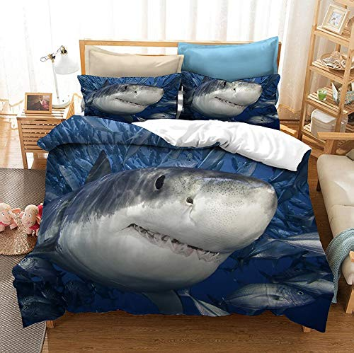 ZXXFR Duvet Cover Set Printed 3d animal grey whale,Bedding Quilt Cover Soft Breathable for Girls Boys 3 Pieces (1 Duvet Cover + 2 Pillow cases)-UK Super King 220x260CM
