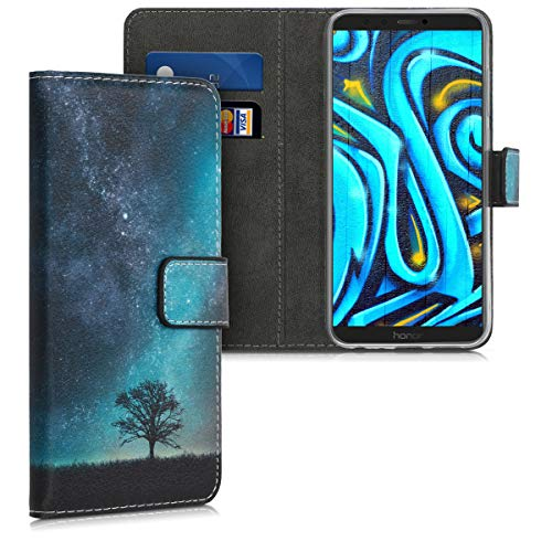 kwmobile Hülle kompatibel mit Huawei Honor 9 Lite - Kunstleder Wallet Hülle mit Kartenfächern Stand Galaxie Baum Wiese Blau Grau Schwarz