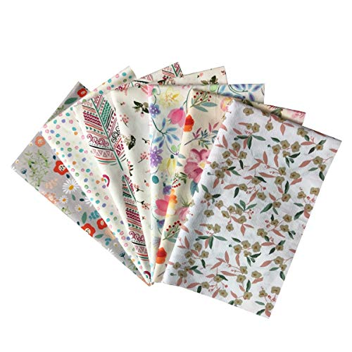 Misscrafts 7pcs Quilting Fabric 18' x 22' 100% Cotton Craft Fabric Bundle Squares Fat Quarters Multicolored for Patchwork DIY Sewing Scrapbooking Blooming