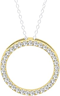 Round White Diamond Ladies Circle Pendant (Silver Chain Included), 18K Gold