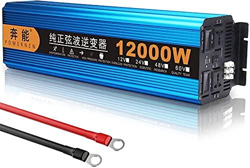 MARHD Inversor de Onda sinusoidal Pura 6000W 12000W (Pico) Inversores de energía para automóvil DC 24V / 48V AC 220V 230V 240V Convertidor de Viaje de Viaje con Salidas de CA y Puertos USB