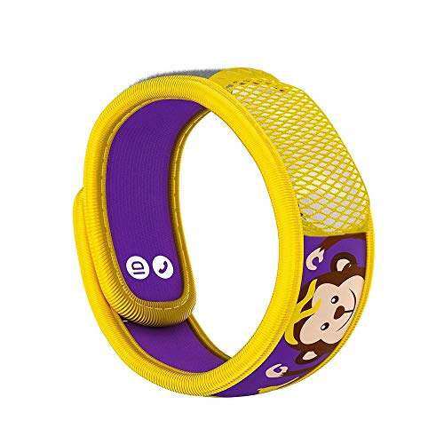 PARA'KITO Mosquito Insect & Bug Repellent Kids Wristband - Waterproof, Outdoor Pest Repeller Bracelet w/ Natural Essential Oils (Monkey)