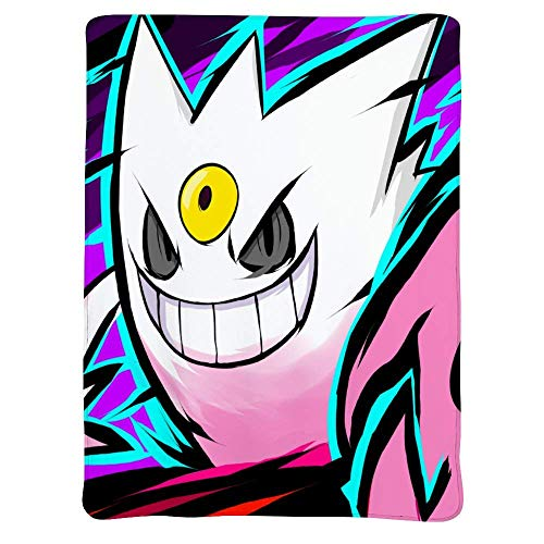 pppppokect Poke-mon Lightweight Blankets, Shiny Mega Gengar, Soft Cozy Warm Cute Flannel Fleece Throw Blanket for Adult and Kids,Living Room Bedroom Study Couch Bed and Beach Travel,60x50 inches