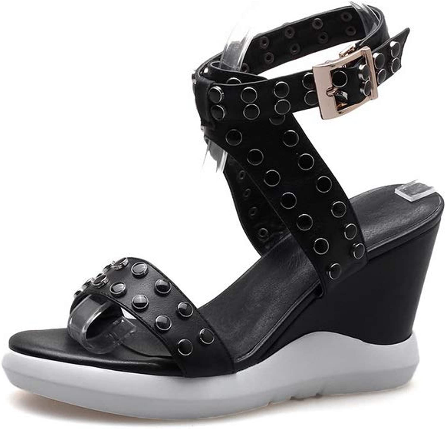 AN Womens Wedges Buckle Platform Cow Leather Sandals DIU01258