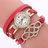 WaiMeill Damen schlanke Leder Wickelband Quarz Armbanduhren kleines Diamant Zifferblatt Lässige Uhr (Rot)