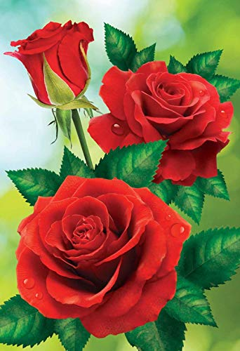 PPMP 5D DIY Diamantmalerei Blumenvase Kreuzstich-Kit Volldiamant Stickerei Mosaik Rose Künstler Home Decoration Gemälde A12 40x50cm