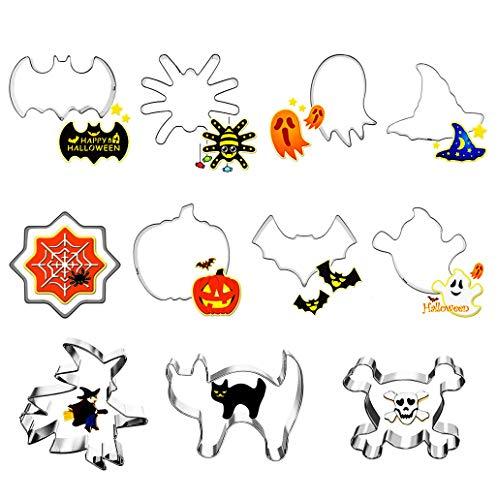 Halloween Keksausstecher Ausstecher, 11 Stück Halloween Ausstechformen aus Edelstahl von Kürbis, Hexenhut, Geist, Spinne, Fledermaus, Katze Plätzchen Ausstecher etc für Kinder Party Deko