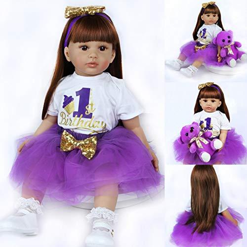 ZIYIUI Bambole Reborn Femmine 24 Pollici 60 cm Bambole Reborn in Silicone Morbido Bambole Che sembrano Vere morbide con Capelli Lunghi Toddler Bambini (Ragazza)