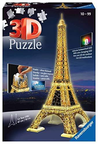 Ravensburger - 3D Puzzle Building Tour Eiffel Night (12579 1) , color, modelo surtido