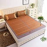 DFJU Juego de Fundas de Almohada y colchón de colchón de Verano de enfriamiento de ratán, 150x195 cm