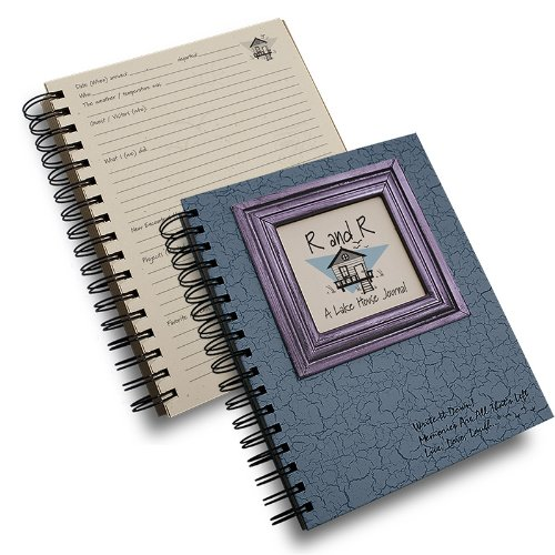 """Journals Unlimited""""Write it Down!"""" Series Guided Journal, R and R, A Lake House Journal, with a Blue Hard Cover, Made of Recycled Materials, 7.5""""x 9"""""""