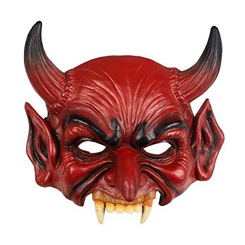 Boland 72189 Mezza Maschera Diavolo in Lattice, Unisex - Adulto, Rosso