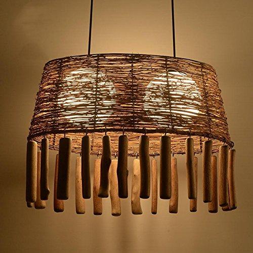 SDKKY In midollino naturale arte del legno lampadario loft American bar retro lampadario bar ristorante Cafe lampada 350 * 380mm