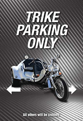 NWFS Motorrad Trike Parking only graues Blechschild Metallschild Schild Metal Tin Sign gewölbt lackiert 20 x 30 cm
