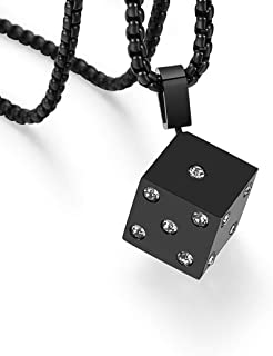 WELRDFG 18K Gold-Plated Men's chain Stainless Steel Pendant Necklace Black lucky Dice Pendant Design
