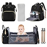 3 in 1 Diaper Bag Backpack Travel Bassinet Portable Baby Bed, Baby Diaper Bag with Changing Station, Foldable Baby Crib with Changing Pad (Black)