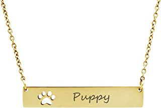 Anavia Personalized Bar Necklace Dog Paw Print Jewelry Custom Name Stainless Steel Pendant Necklace Gift for Puppy Lover Women Men Teens Girls Friends, Free Engraving
