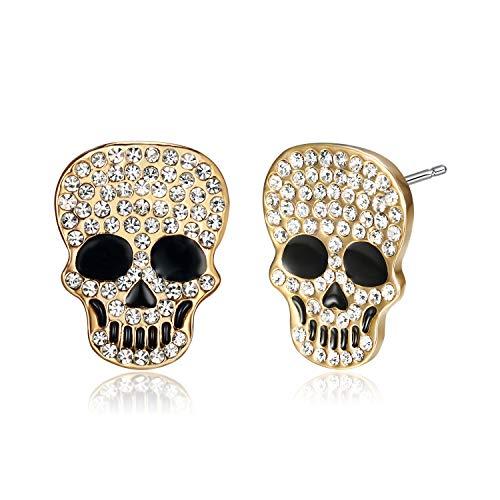 Lee Island Fashion White Crystal Skull Earrings for Women