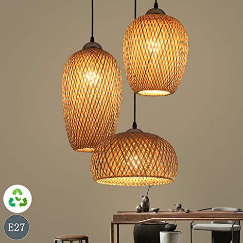 Hanglamp van gevlochten bamboe, hanglamp van gevlochten rotan, lampenkap met 3 lampen, bamboe, lamp in natuurlijke stijl, creatieve hanglamp van rotan E27 voor slaapkamer, keuken, eetkamer