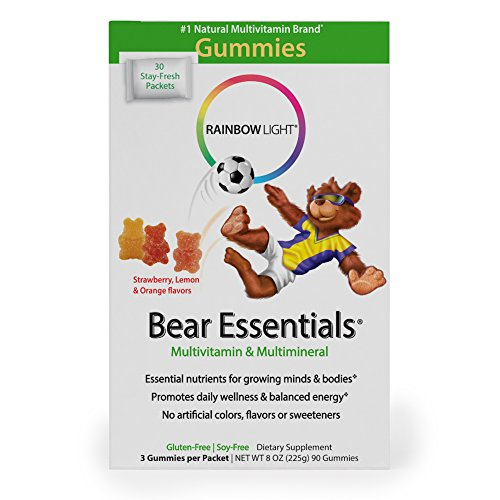 Rainbow Light Gummy Bear Essentials Multivitamin & Multimineral 30-Count Single Serve Packets (Pack of 3)