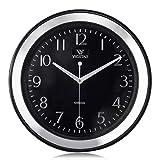 Lafocuse Reloj de Pared Silencioso Metal Clasico Reloj Cuarzo Sencillo Plata para Salon Comedor Dormitorio 33 cm