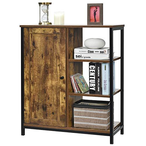 COSTWAY Sideboard mit höhenverstellbarem Einlegeboden und 3 offenen Ablagen, Kommode Vintage, Beistellschrank aus Holz & Stahl, Küchenschrank bis 75kg belastbar, Flurschrank Braun