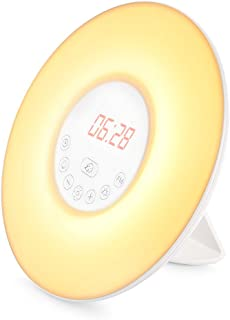 INLIFE Wake Up Light Sunrise Alarm Clock with 6 Changing Colors Night Light Alarm Clock for Bedroom, 6 Nature Sounds, FM Radio, Touch Control, Snooze Function, USB Charger