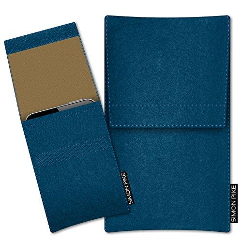 SIMON PIKE Hülle Tasche kompatibel mit Samsung Galaxy S21 Ultra (I) | Filztasche Sidney in 15 Petrol aus Filz (echtem Wollfilz) Handyhülle