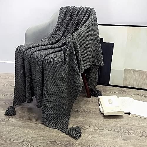Flamingred Manta de Tapa de Bolas de Punto de Borla, Aire Acondicionado de Oficina Almuerzo Break Manta Sofá Sofá Manta de Cubierta,Gris,110 * 150cm