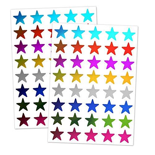 TownStix 8 Farben, 1000 Stück, Glänzend Stern Aufkleber Bunt - 15mm