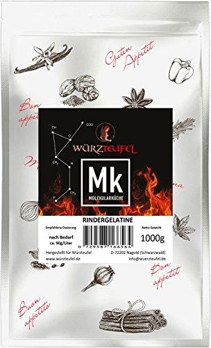 Rindergelatine, Gelatine 220 Bloom, reines Aspik. Aspikpulver, Kaltlöslich, Spitzenqualität aus der Schweiz. Beutel 1000g. (1,0 KG)