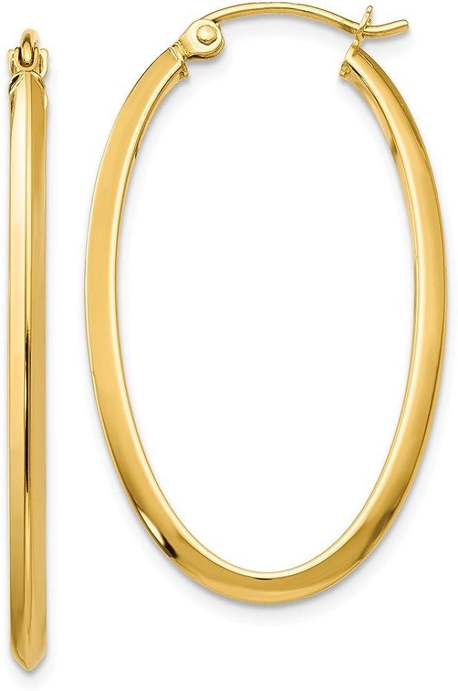 14k Yellow Gold 2mm Oval Hoop Earrings Ear Hoops Set Fine Jewelry For Women Gifts For Her