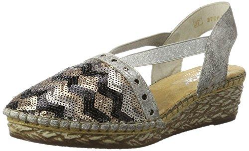 Rieker Damen 68978 Geschlossene Sandalen mit Keilabsatz, Mehrfarbig (Black-beige/Altsilber / 92), 39 EU