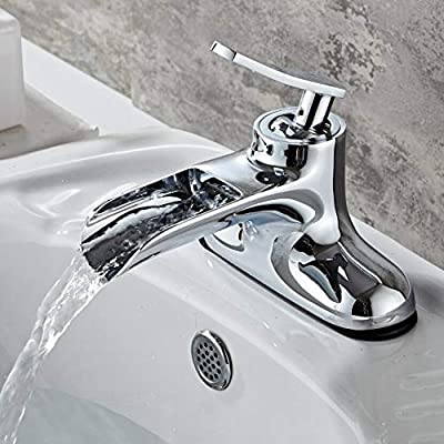 bakala Brass Double Hole Single Handle Waterfall Bathroom Sink Faucet Deck Mounted Cold and Hot Water Sink Basin Mixer Taps (Chrome)