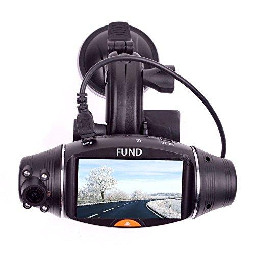 FunD Dual Camera Lens HD Car DVR Vehicle Black Box with GPS and G-Sensor, Rotating
