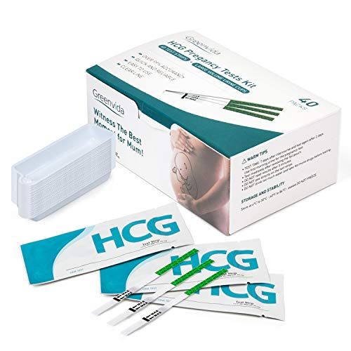 Pregnancy Test Strips with 40 Free Urine Cups, 40 HCG Test Strips Kits for Early Home Detection Pregnancy, Easy to Use, Reliable and Quick, Clear HCG Pregnancy Test Results with Over 99% Accurate